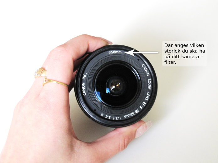 Objektivets filterstorlek